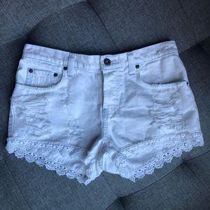 White Denim CARMAR Shorts w/ Lace Trim
